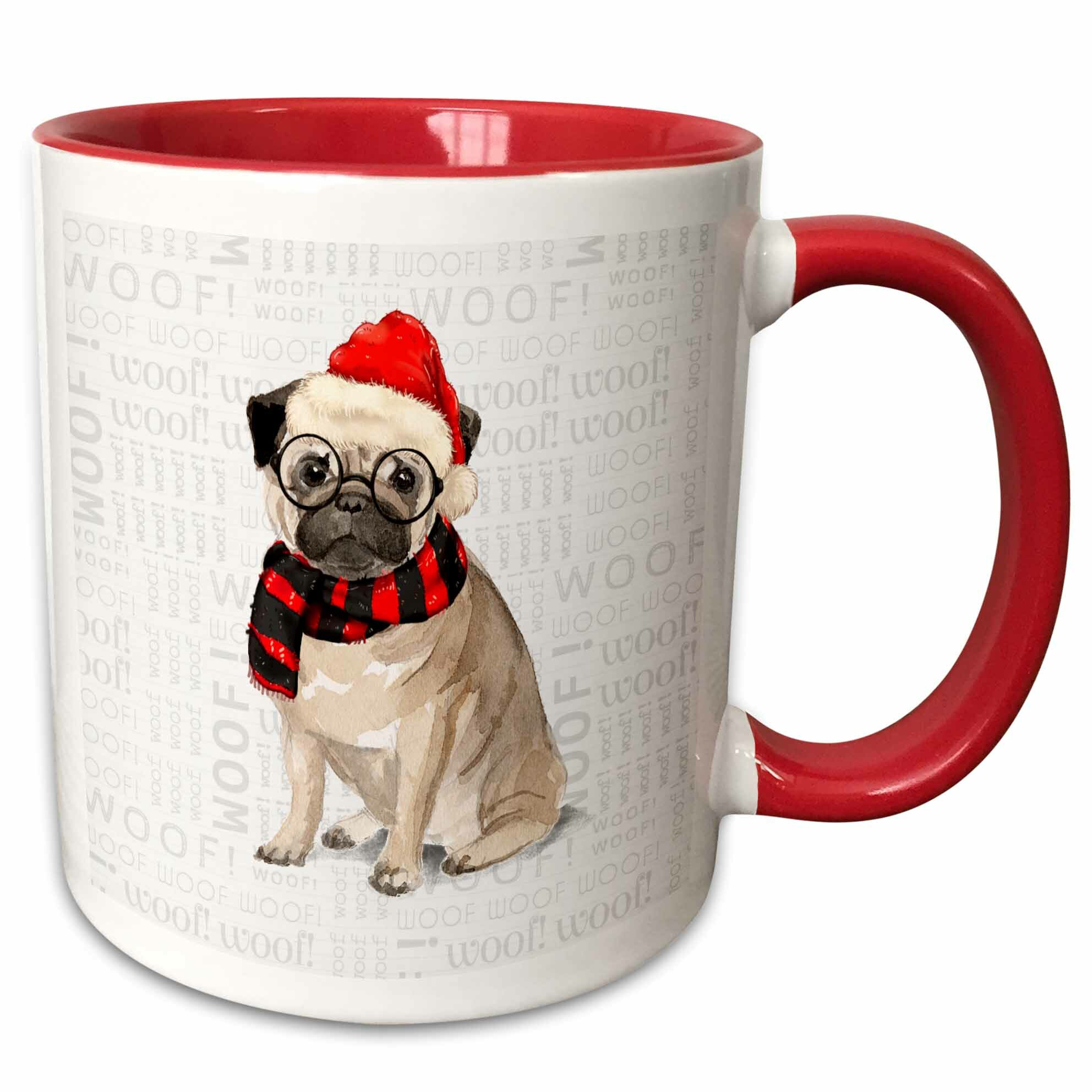 Ebern Designs Tieger Funny Dog Lover Pug In A Santa Hat And Winter Scarf Coffee Mug Wayfair