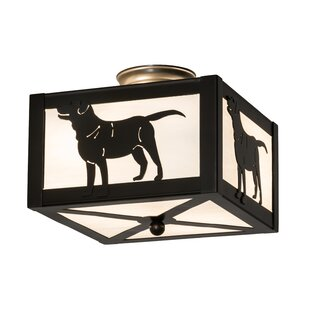 Meyda Tiffany Greenbriar Oak Labrador Retriever 2-Light Semi-Flush Mount