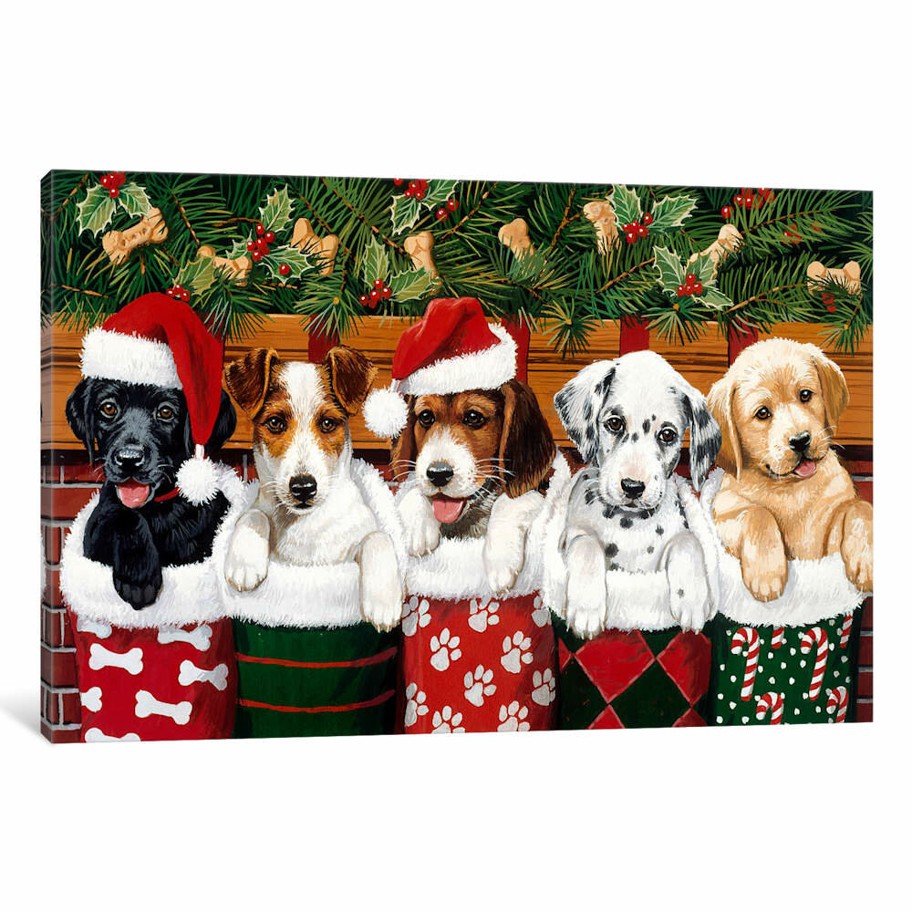 Christmas Puppies.William Vanderdasson Christmas Puppies Photographic Print On Wrapped Canvas