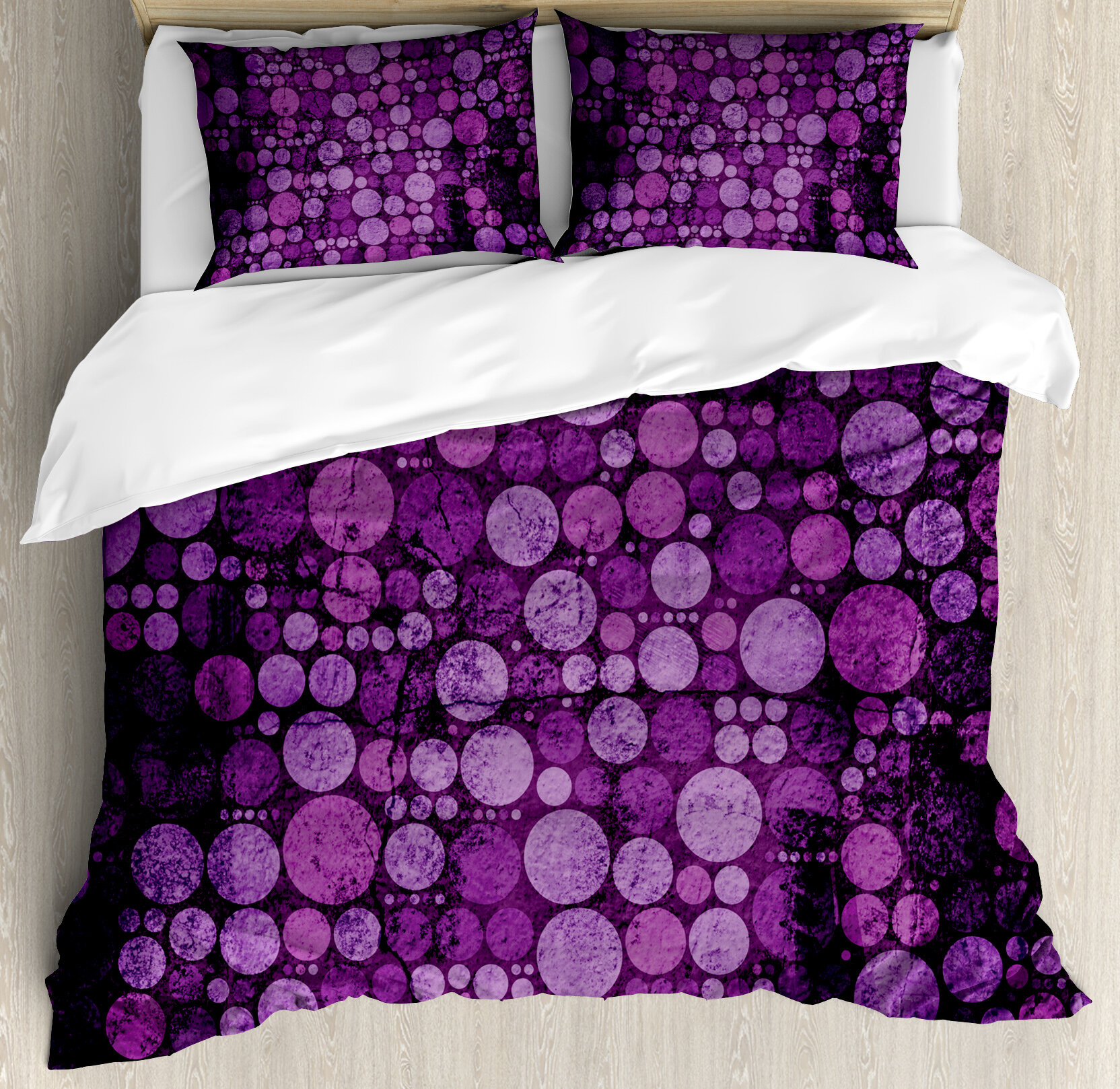 Ambesonne Indigo Retro Vintage 60s Home Decor Inspired Dots Circles On Grunge Backdrop Duvet Cover Set Wayfair