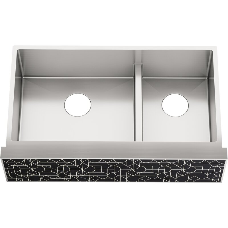 Kohler Tailor Large Double Basin Stainless Steel Sink With Etched Stone Insert Wayfair