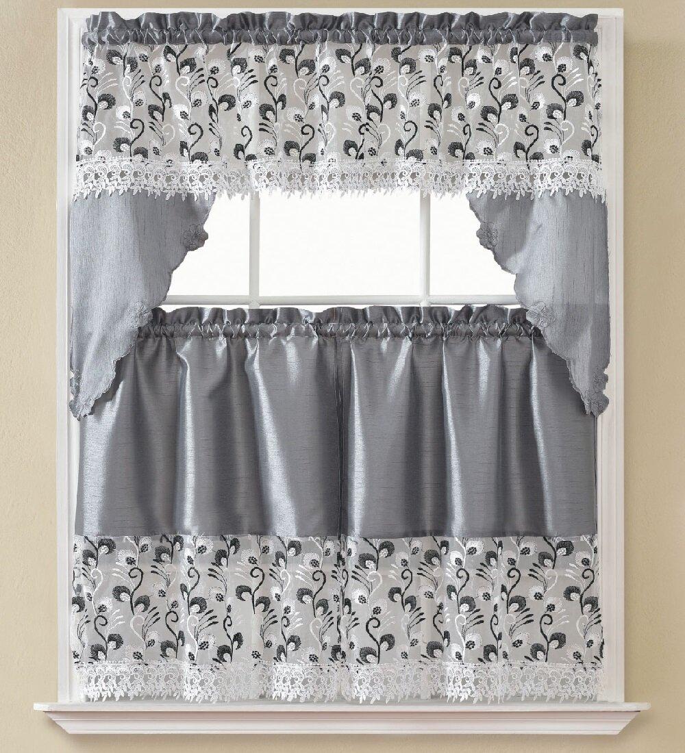 August Grove Manningtree 3 Piece Kitchen Curtain Set Reviews Wayfair