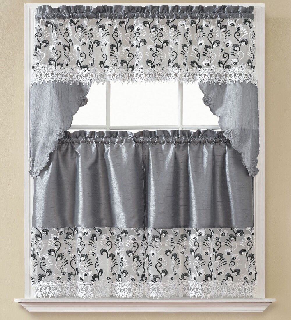 August Grove Manningtree Floral Swag 60 Kitchen Curtain In Gray Reviews Wayfair