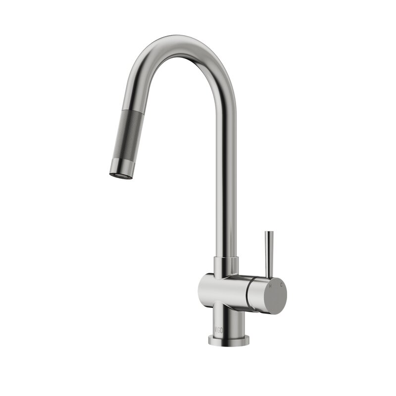 VIGO Gramercy Pull Down Single Handle Kitchen Faucet with Optional ...
