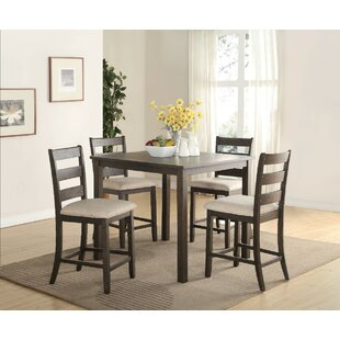 Merideth 5 Piece Counter Height Solid Wood Dining Set