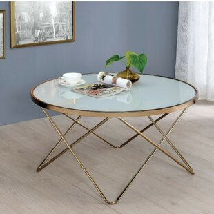 Zapata Contemporary Round Glass and Metal Coffee Table by Wrought Studio