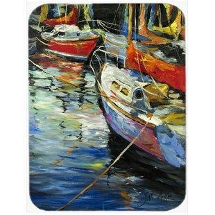 Boat Talk Sailboats Glass Cutting Board ByCaroline's Treasures