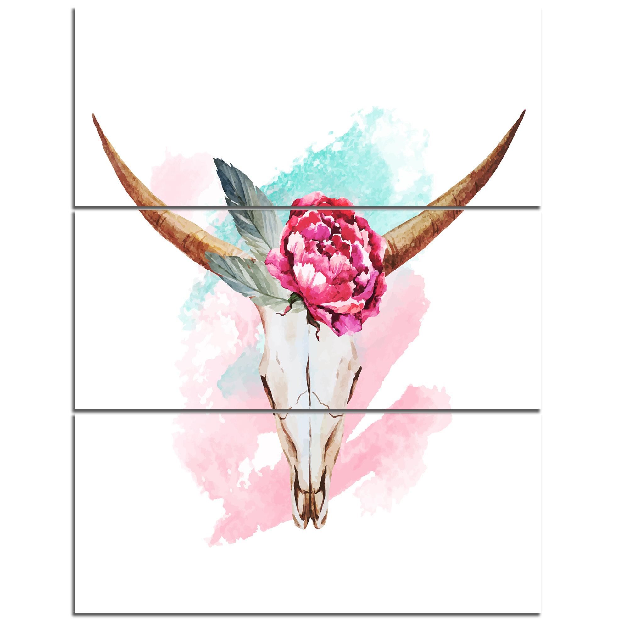 Designart Bull Skull And Flower 3 Piece Painting Print On Wrapped Canvas Set Wayfair