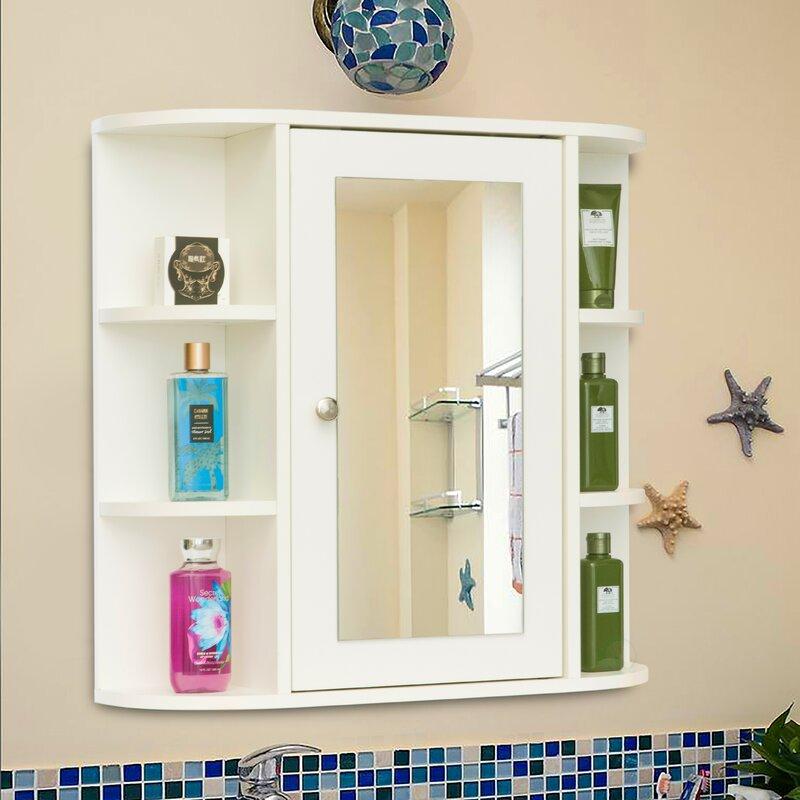 Latitude Run Surface Mount Framed 1 Door Medicine Cabinet With 10 Adjustable Shelves Wayfair