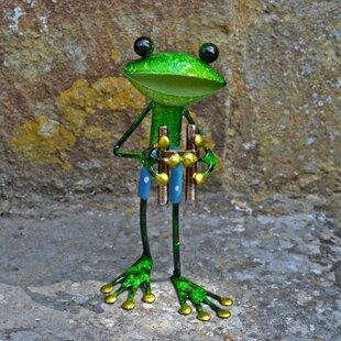 Gurdon Metal Frog With Binoculars Decorative Statue By Happy Larry