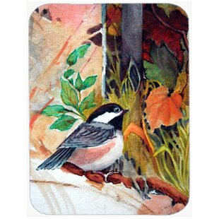 Fence Sitter Chickadee Glass Cutting Board By Caroline's Treasures