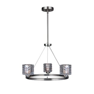 Wrought Studio Sadowski Modern Crystal Square 3-Light Wagon Wheel Chandelier