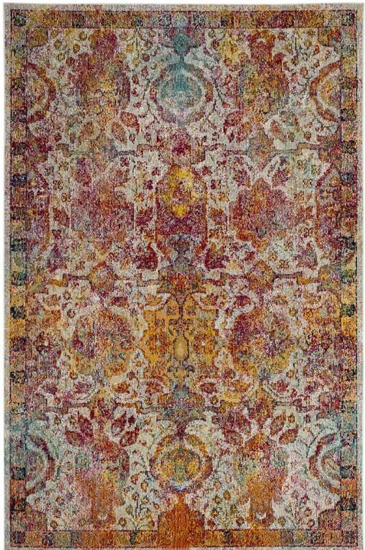 Lazaro Light Blue/Orange Area Rug