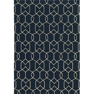 Hamptons Hand-Hooked Navy Indoor/Outdoor Area Rug