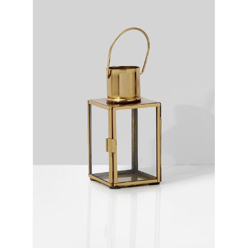 Wrought Studio Square Small Glass And Metal Lantern Wayfair