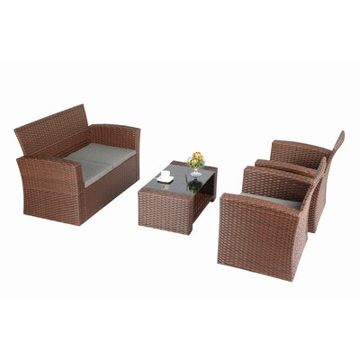 Bay Isle Home Reordan 4 Pieces Sofa Set with Cushions Frame Color: Brown