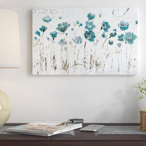 'Abstract Balance Blue' Framed on Canvas in Turquoise