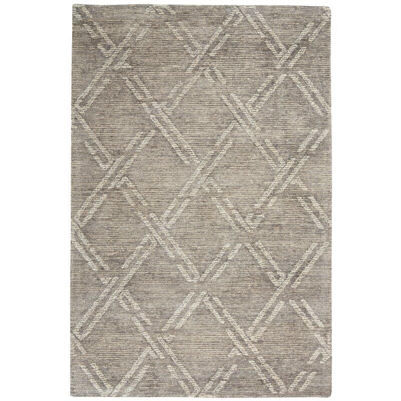 Ebern Designs Aizel Geometric Tufted Gray Area Rug Wayfair