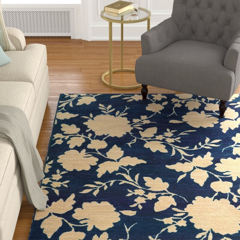 Alcott Hill Alicia Blue/Beige Area Rug, Size: Rectangle 67 x 96