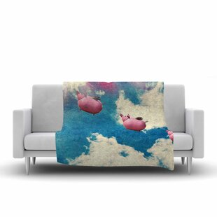 Robin Dickinson When Pigs Fly Digital Fleece Blanket By East Urban Home