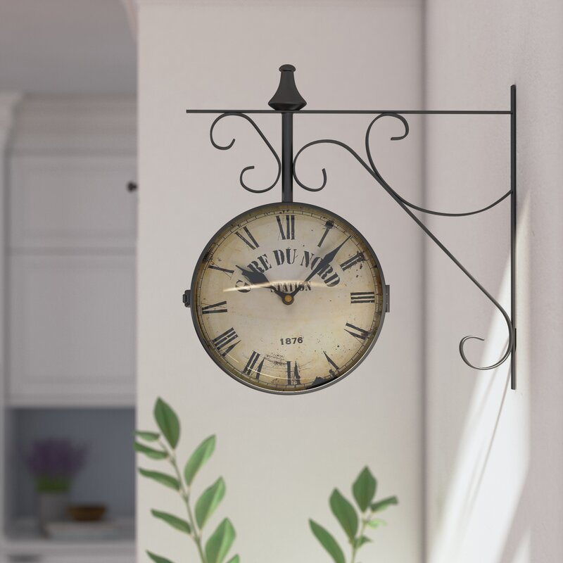 Lark Manor 9 4 Round Double Sided Hanging Wall Clock Reviews Wayfair Ca