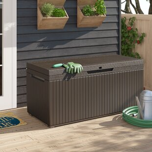 Keter Springwood 80 Gallons Gallon Water Resistant Lockable Deck Box with Wheels in Espresso Brown