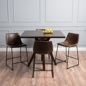 Maclin Faux Wood Square 5 Piece Dining Se..
