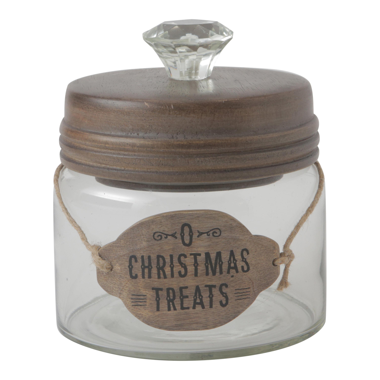 Hallmark Home Gifts O Christmas Treats Small Glass Cookie Jar