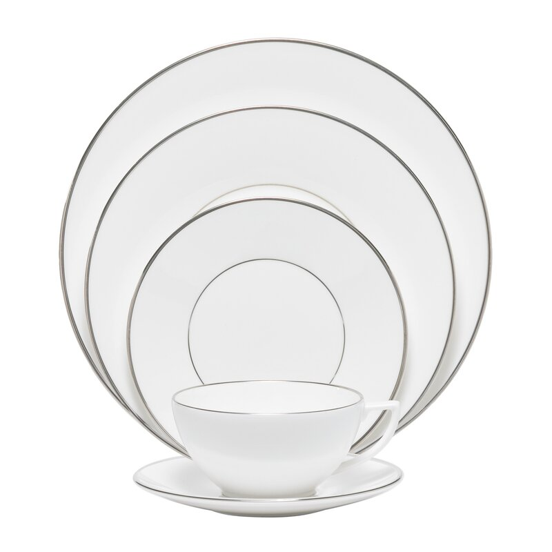 platinum fine bone china 5 piece place setting set service for 1