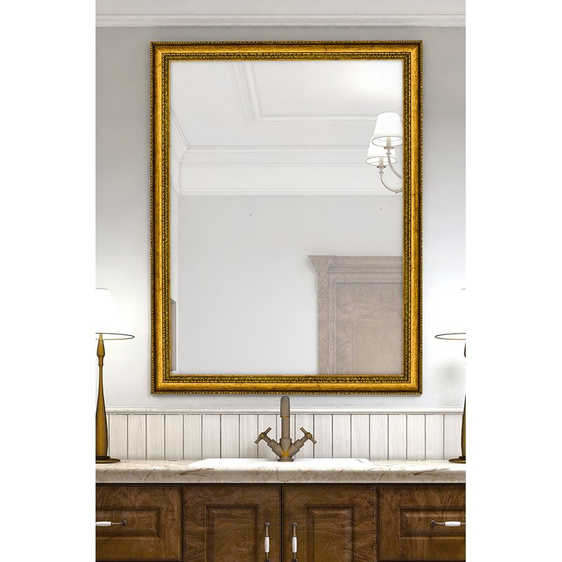 Astoria Grand Burlwood Beaded Vintage Gold Wall Mirror Reviews Wayfair