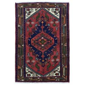 Estrella Hamadan Oriental Hand-Woven Wool Red/Navy Area Rug