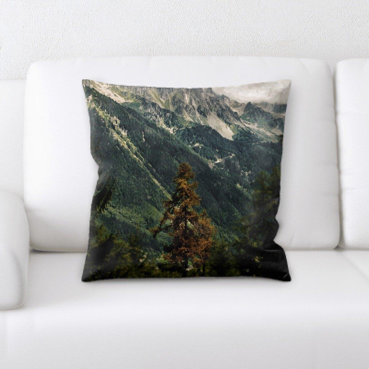 Latitude Run Leona Mountain And Cliffs Throw Pillow Wayfair