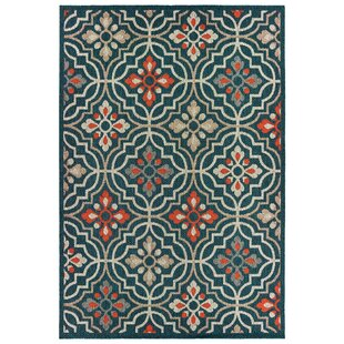 Berryville Medallion Lattice Navy Blue/Orange Indoor/Outdoor Area Rug