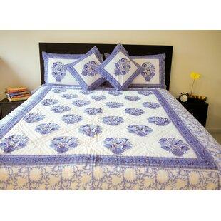 August Grove Abelardo The Blue Floral Quilt