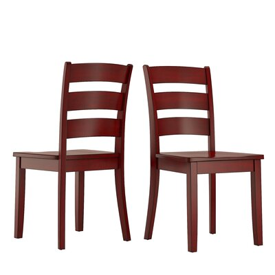 Alverson Solid Wood Dining Chair Color: Berry Red by August Grove