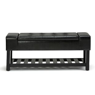Finley Leather Storage Bench By Simpli Home