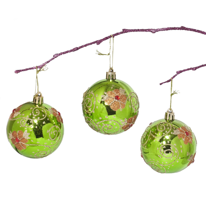 The Holiday Aisle 2 75 Handpainted Flowers With Acrylic Diamonds Christmas Ball Ornament Reviews Wayfair