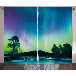 Sky Over Lake Graphic Print Room Darkening Rod Pocket Curtain Panels (Set of 2) by East Urban Home