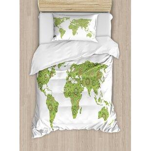 World map bedding sets wayfair modern ethnic stylized world map chart environment flourishing original artisan picture duvet set gumiabroncs Images