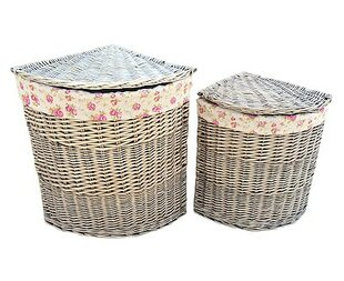 2 Piece Linen Corner Wicker Laundry Set With Garden Rose Lining By Brambly Cottage