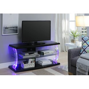 Bojorquez LED TV Stand in White and Clear Glass by Orren Ellis