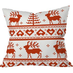 Logsdon Knitting Deer Indoor/Outdoor Throw Pillow