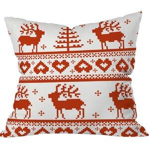 Logsdon Knitting Deer Indoor/Outdoor Throw Pillow