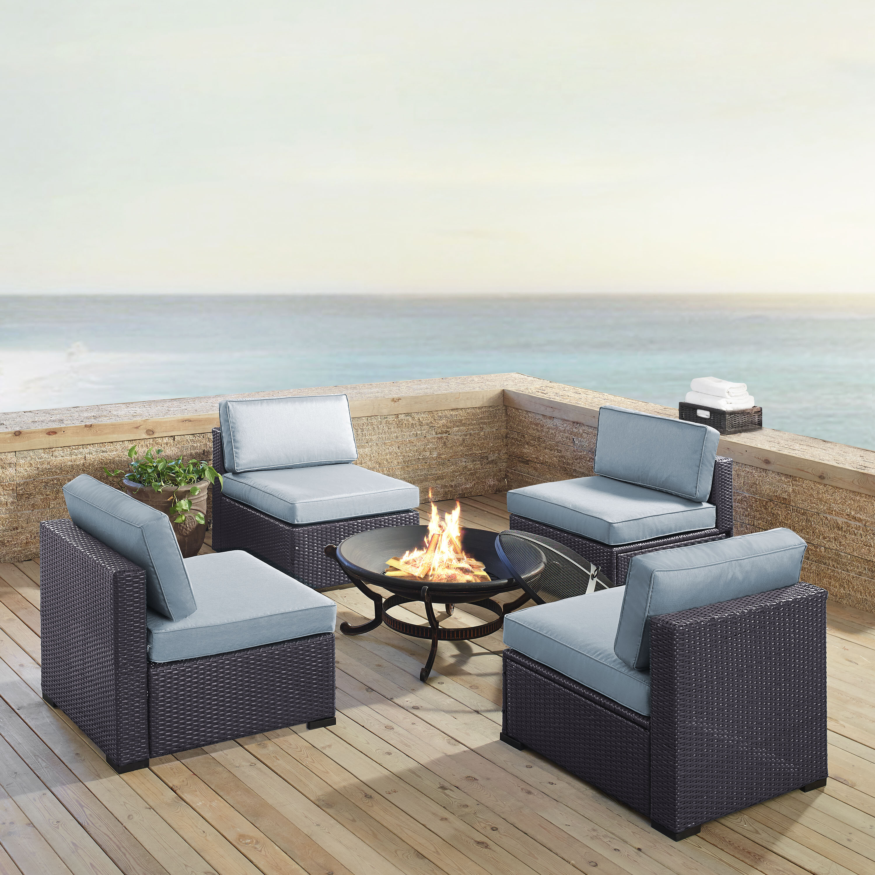 Birch Lane Lawson 5 Piece Rattan 2 Person Seating Group With Cushions Reviews Wayfair