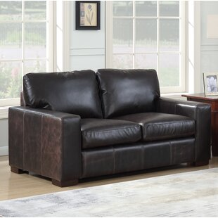 Shop Lincolnton Leather Loveseat by Three Posts