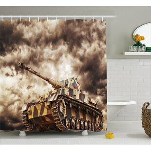 Fabric Tank Battle War Cloudy Single Shower Curtain