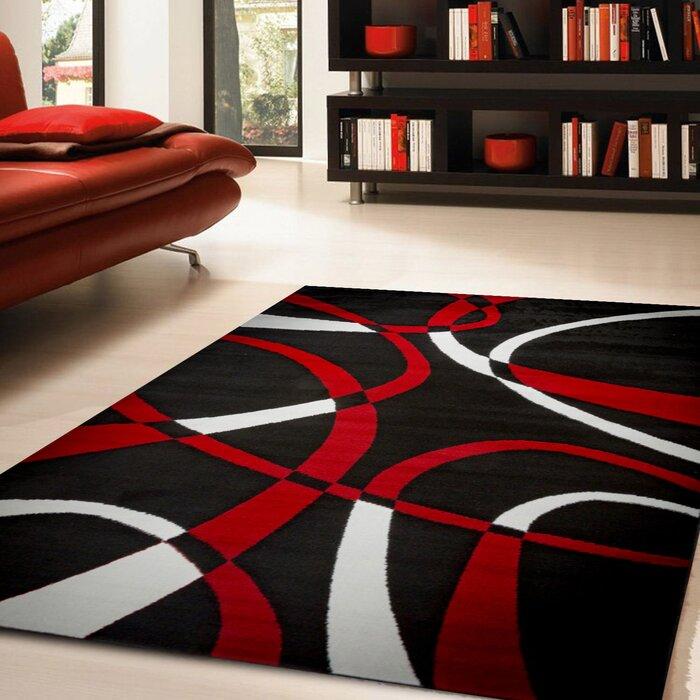 Katelynn Black White Red Area Rug