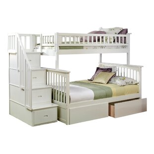 Harriet Bee Abel Staircase Twin Over Full Standard Bed with Drawers