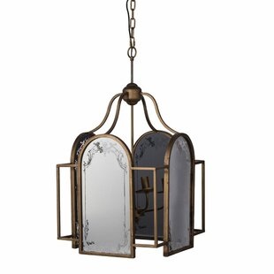 One Allium Way Melinda Vintage Glamour Brass 4-Light Lantern Chandelier