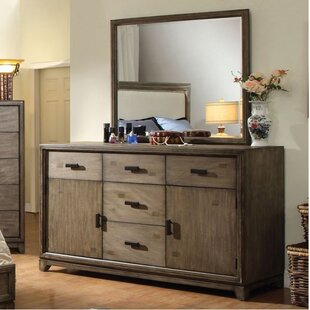 Union Rustic Munson 5 Drawer Combo Dresser with Mirror